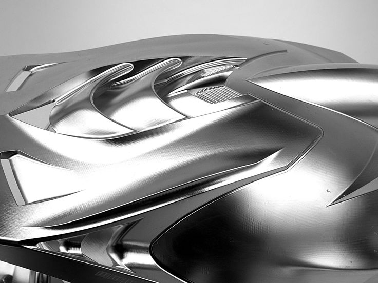 The grey collection: Workpiece Dimensions to make the Motorcycle helmet: 400 x 300 x 300 mm, Material A7N01-T6 Aluminum