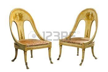 Oude vintage antieke Egyptische geschilderde stoelen
