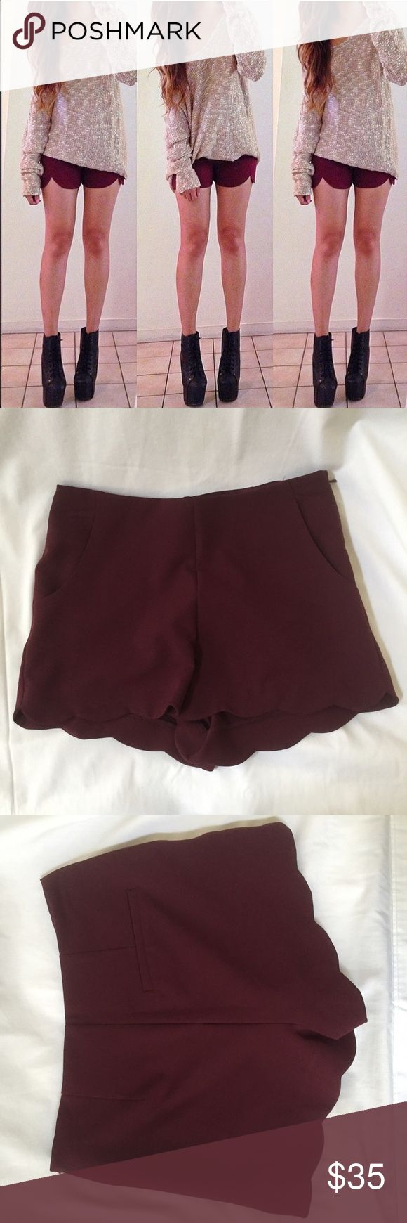Asos burgundy shorts Never worn burgundy scalloped shorts with zipper on the side ASOS Petite Shorts