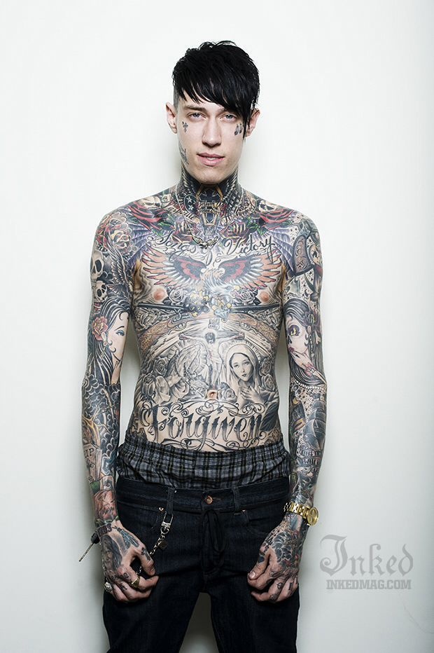 Trace Cyrus - he has some really cool tattoos, but I hate the fact that he's just completely covered in them