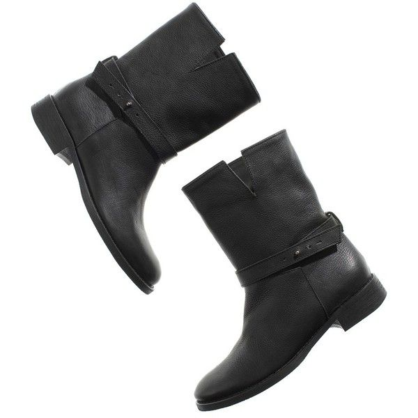 MADEWELL The Biker Boot (235 CAD) ❤ liked on Polyvore featuring shoes, boots, ankle booties, madewell, black, classic black, moto boots, black moto boots, ankle strap booties and black booties