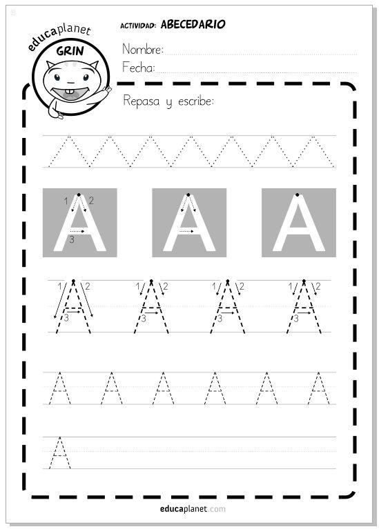 Un minilibro con 27 actividades para repasar las letras del abecedario y mejorar la grafomotricidad de 3 años hasta 6 años las letras en mayúscula.