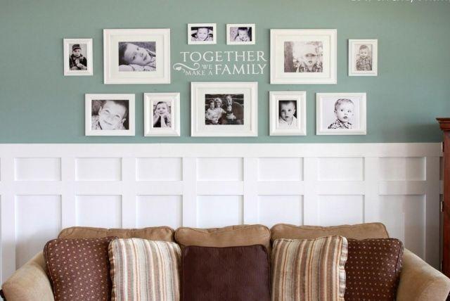 idée de déco murale en cadres photos familiales