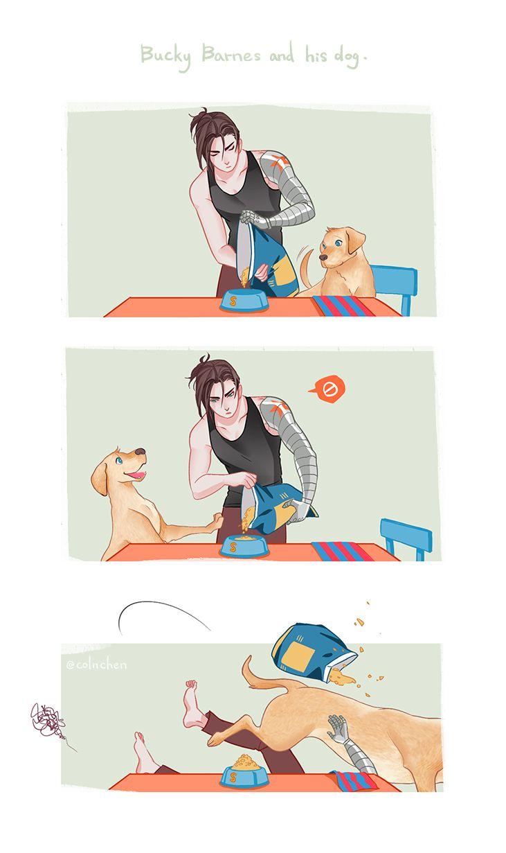 Bucky Barnes and his dog