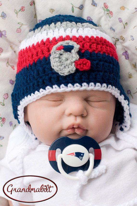 Hat & Pacifier NEW ENGLAND PATRIOTS Football Baby by Grandmabilt, $34.00