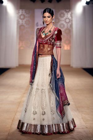 Gorgeous Blouse over White Lehenga