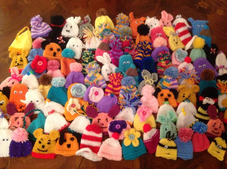 My innocent smoothie hats for the Big Knit 2015, knitted 100!