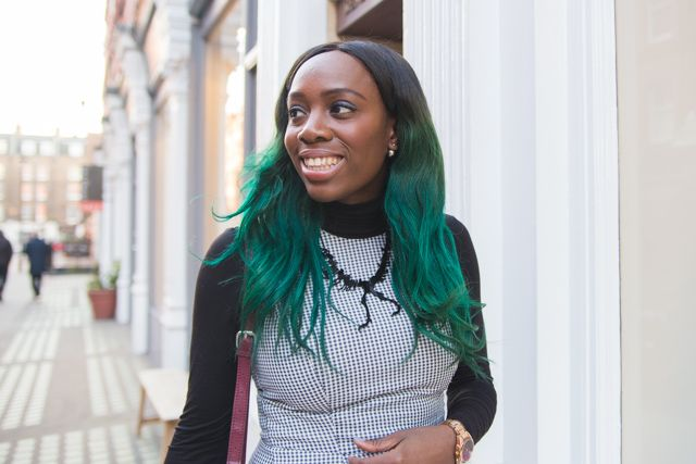 bloggers with green ombre hair extensions