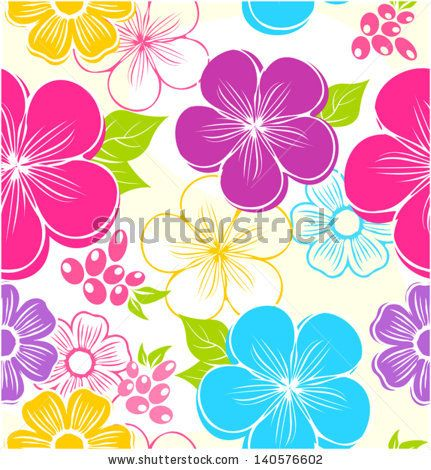 Seamless floral background with summer flowers and leaves - stock vector