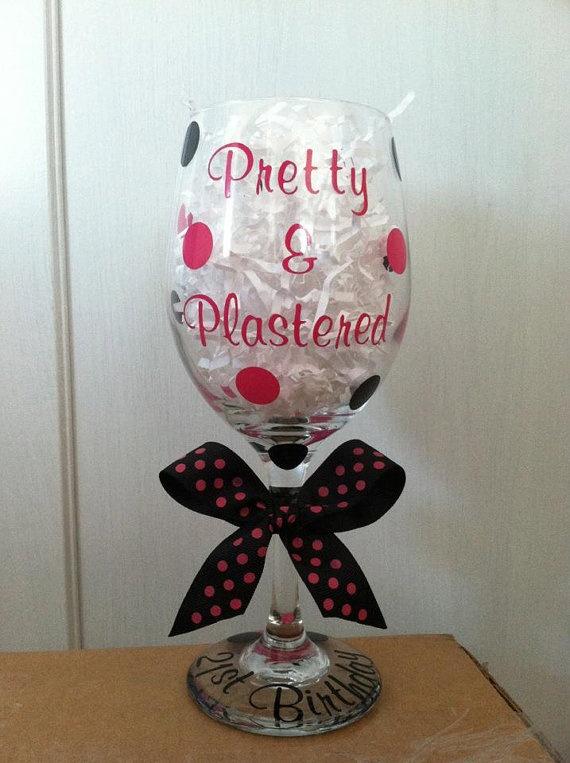 Personalized 21st Birthday Wine Glass by CuteandJazzyDesigns, $9.50