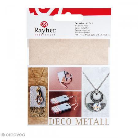 Kit Decoración Metal - Dorado, cobrizo y plateado - 6 hojas de 9 x 9 cm - Fotografía n°1