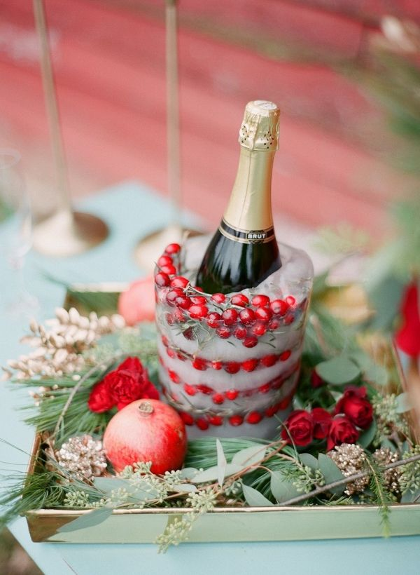 Cranberry Champagne Ice Bucket | Shannon Duggan Photography on @CVBrides via @aislesociety