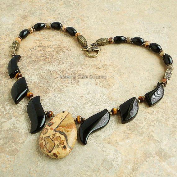 Black and Brown Gemstone Beaded Fan Necklace, Onyx, Leopard Jasper, Tiger Eye, Antiqued Brass, Bib Necklace