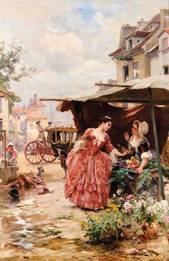 Парижские цветочницы. Французский художник Луи Мария де Шрайвер. (Louis Marie de Schryver)