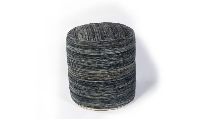 Grey and Blue Pouf