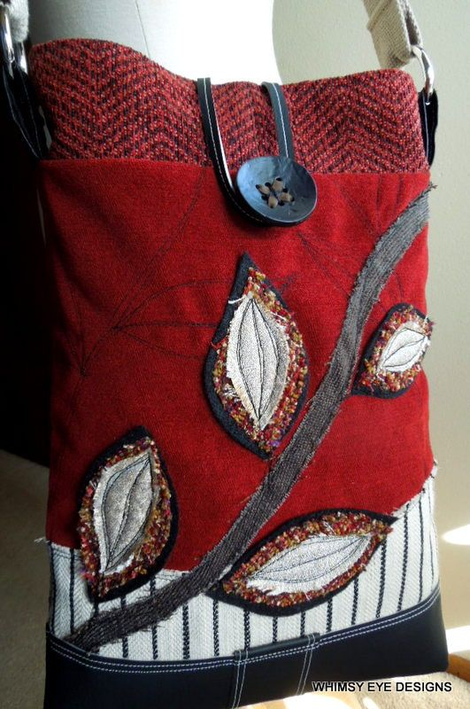 Crossbody Bag Upcycled Purse Recycled Fabric by WhimsyEyeDesigns