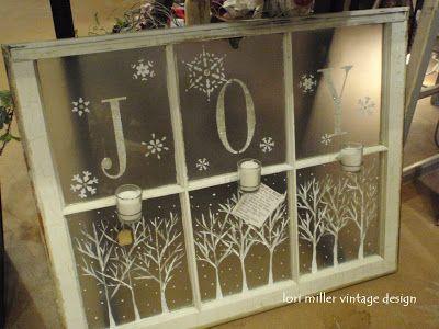 repurposed window frosting glass paint, stencils, snow flakes glitter paint JOY christmas window