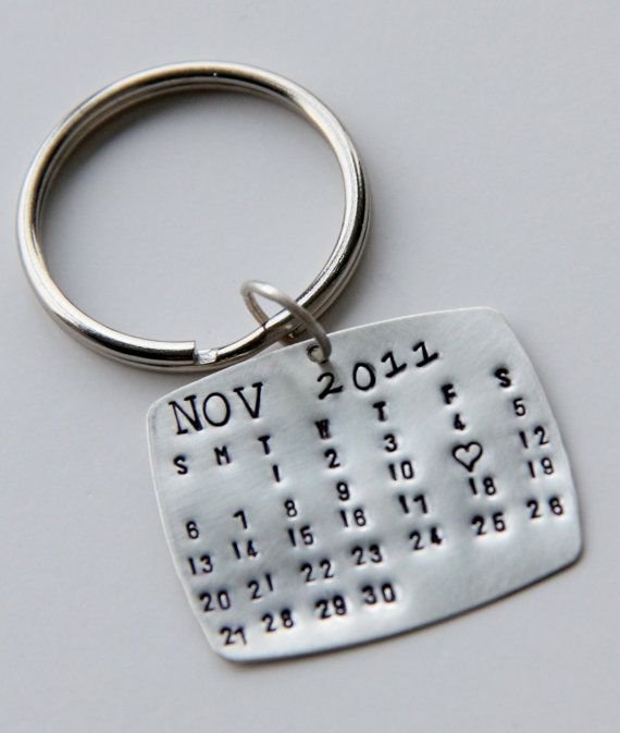 Calendar Keychain Silver Calendar Key Chain by whiteliliedesigns, $38.00