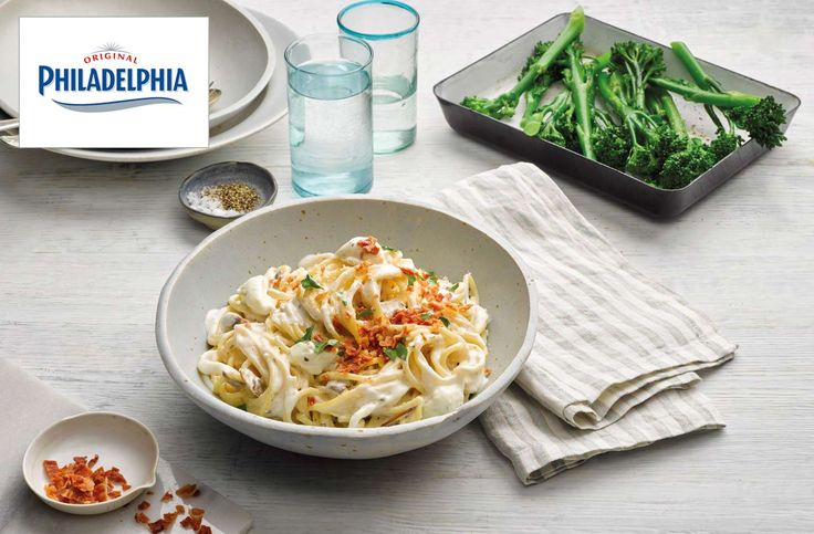 This super tasty Carbonara Style Garlic & Herb Philadelphia Pasta dish is sure to become a family favourite. With unsmoked back bacon, mushrooms, parmesan and the added creaminess of Philadelphia Light Garlic & Herbs, everyone will be asking for more.