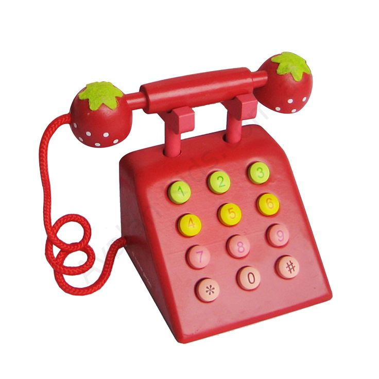 Wooden telephone red