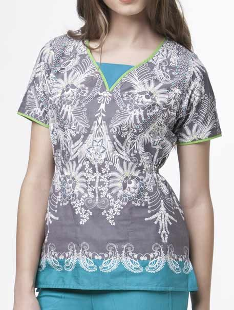 Delicate Neck Border Print Top