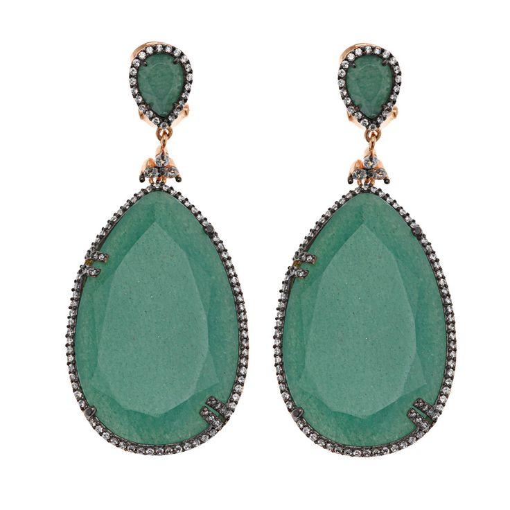 Pendientes en plata de ley con piedra natural aventurita verde o calcita naranja y circonitas. Ver más coleccion en www.salvatore.es