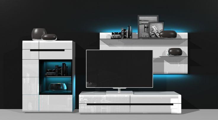HEKTOR 09 MEBLOŚCIANKA - zestaw mebli pokojowych w biały wysokim połysku z czarnymi wstawkami, drzwiczki i szuflady z opcją cichego domyku Praktyczne połączenie i funkcjonalnośi i oryginalnej stylistyki