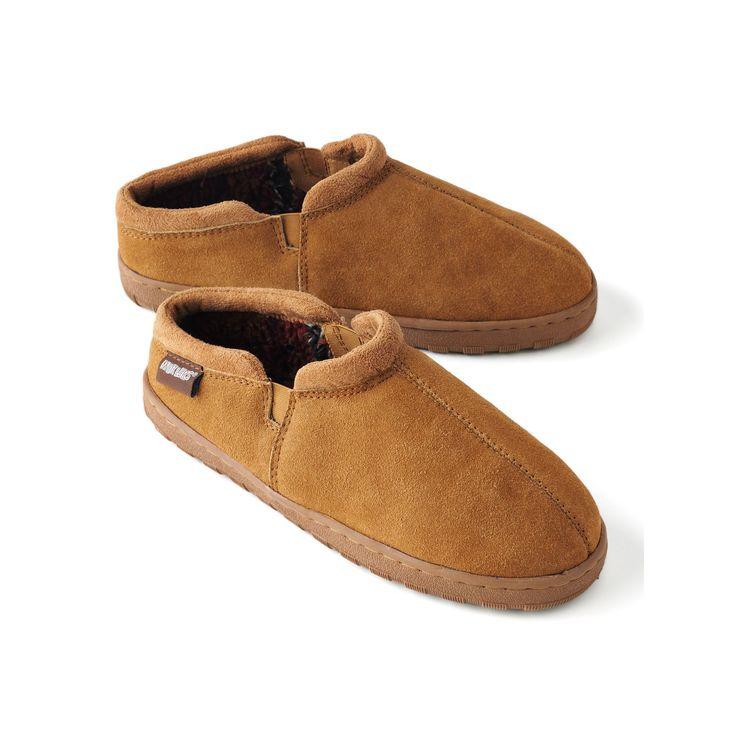 MUK LUKS Men's Leather Berber Fleece Slippers, Size: 13, Beig/Green (Beig/Khaki)
