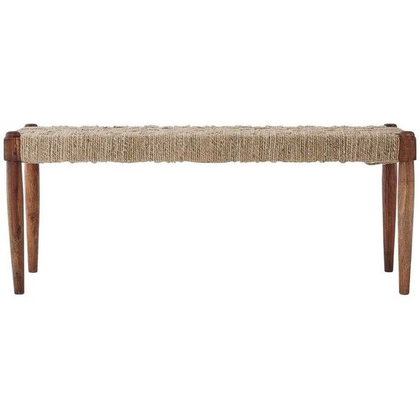 Boho Sheesham Wood and Jute Bench (819,895 MXN) ❤ liked on Polyvore featuring home, furniture, benches, boho furniture, bohemian style furniture, sheesham wood furniture, woven furniture and boho style furniture
