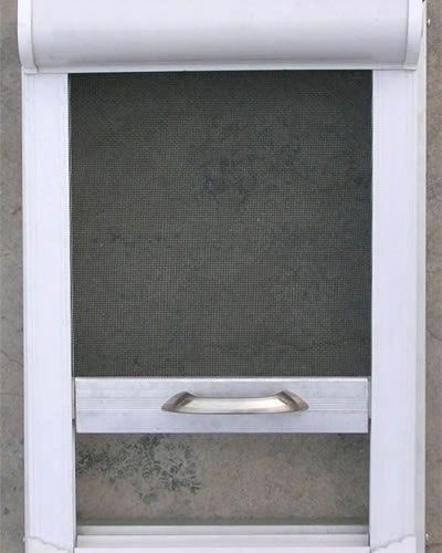 It is a white frame window model with the roll up insect for Roll up window screen