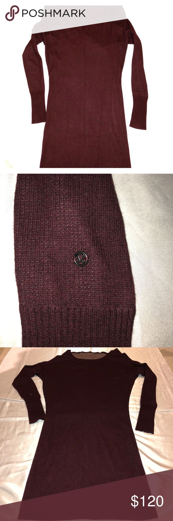 LULULEMON Reversible Serenity Sweater Dress Wrap Color is Heathered Bordeaux Drama on one side, Heathered Pretty Pink on the other. Can be worn as a tunic, a sweater or a dress. And runs a little big like the Scuba lone. No pilling or damage. Almost Mint Condition. lululemon athletica Sweaters