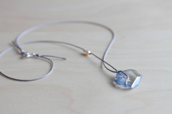 Blue ocean rock necklace / dainty silk thread by HandsLoveJewelry