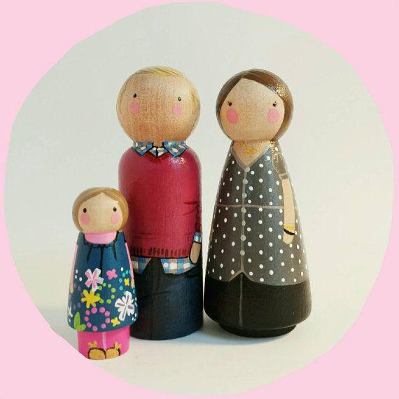 items similar to custom peg doll family of 3 personalized 3 peg dolls plus child modern doll house custom family portrait wooden toys on etsy vintage modern dollhouse furniture 1200 etsy