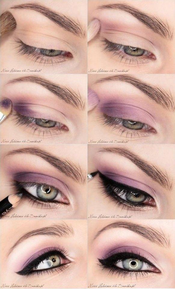 Tutorial de maquiagem Pastel roxo do olho bonita com lápis de olho preto