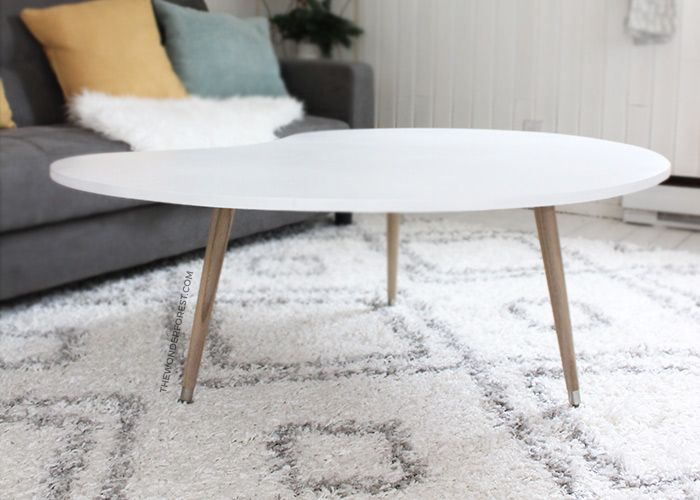 While looking for furniture for my cottage reno, I had my heart set on a mid century style coffee table. Being that I'm decorating this property on a budget, I didn't like the price tags on most of the ones I found. The design was simple enough, so instead, I decided to make my own! This