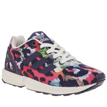 Adidas Multi Zx Flux Girls Junior The ever-popular adidas ZX Flux gets  downsized for little feet and were super jealous at how cute they are.