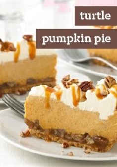 Turtle Pumpkin Pie -- This recipe takes pumpkin pie to a whole new level, with drizzled caramel, chopped pecans and airy COOL WHIP Whipped Topping. Cue the applause.