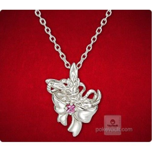 Pokemon Center 2015 Sylveon Ribbon Pendant Necklace With Pink Sapphire Stone PRE-ORDER AUGUST 2015