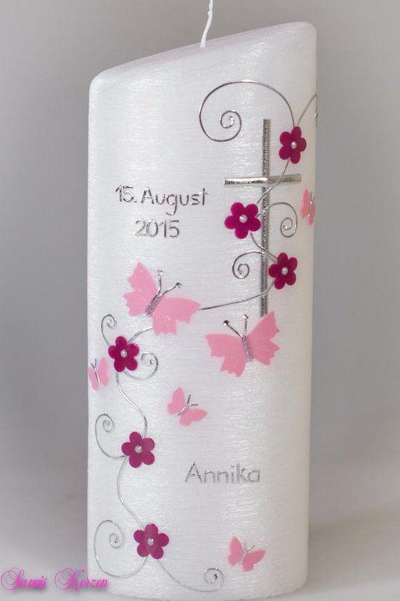 RomantischeTaufkerze Taufe Kerze rosa weiß