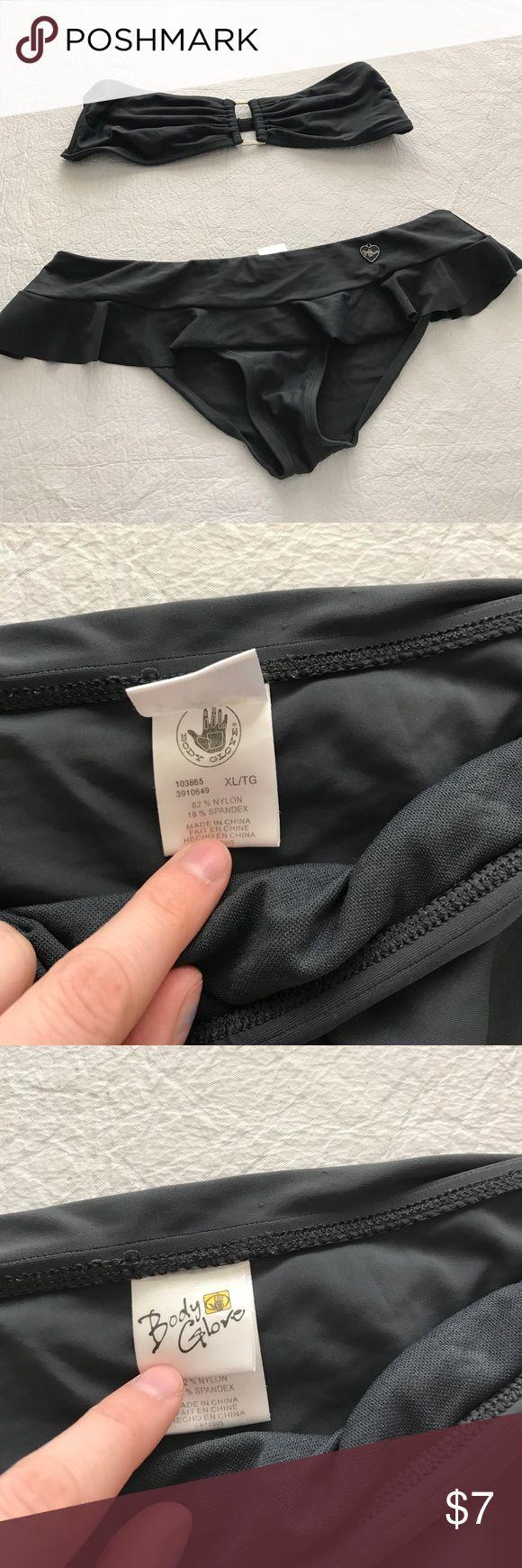 Body Glove Bikini Charcoal grey. EUC. Nylon Spandex blend. Adjustable bandeau top. (No padding). Bikini bottoms have ruffle like mini skirt look. Body Glove Swim Bikinis