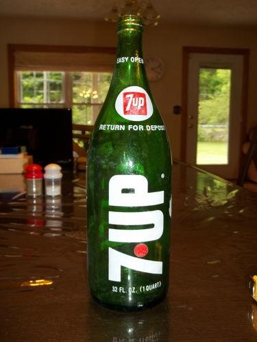 Vintage Large Old 7 Up 1 Liter Green Glass Bottle Soda