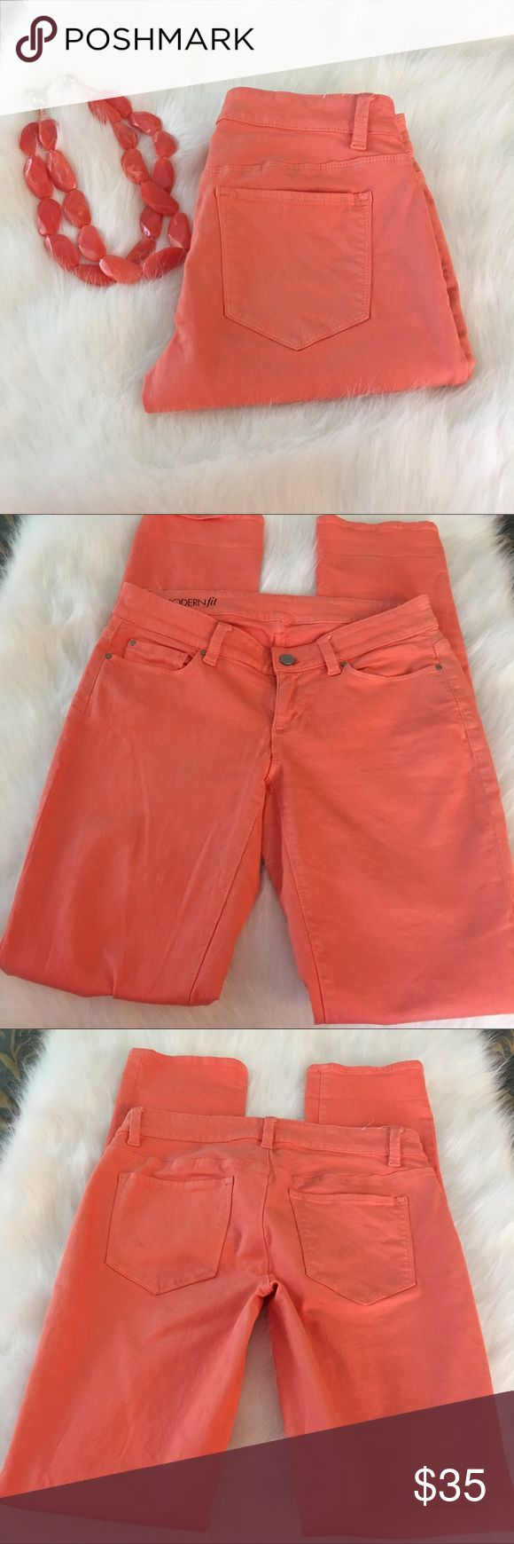 "Ann Taylor coral skinny jeans Ann Taylor coral skinny jeans.   34"" inseam.  Like new condition.  Great color for spring and summer. Ann Taylor Jeans Skinny"