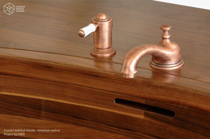 Unique Wood Design, Custom wooden bathtub Vanala. American Walnut wood. Taps by THG Paris