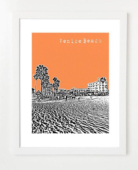 Venice Beach California Poster  Venice Beach by BugsyAndSprite, $20.00