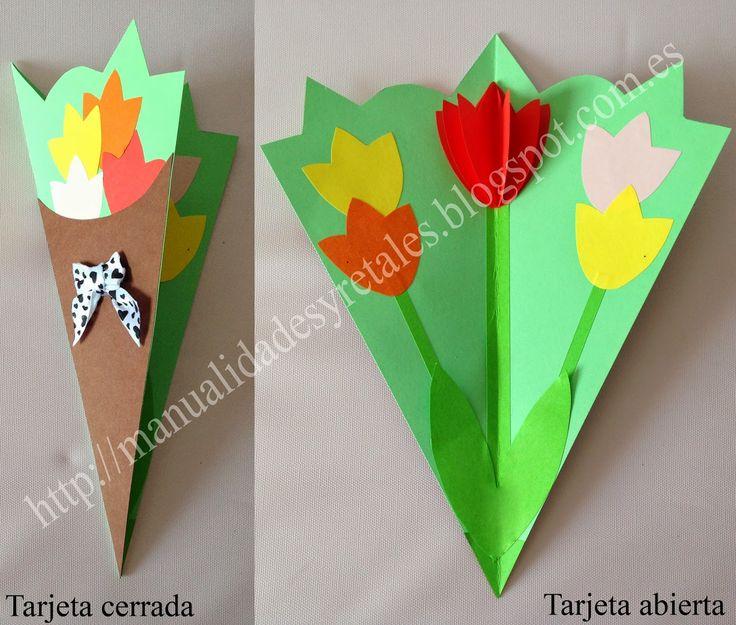Tarjeta tulipanes para el dia de la madre plantillas - Manualidades para hacer tarjetas ...