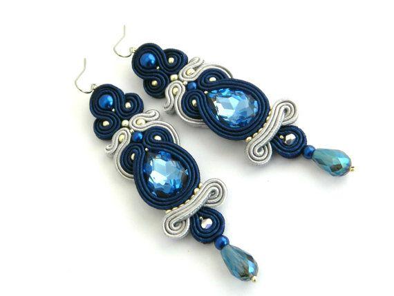 Denim earrings, Blue earrings, long earrings, crystal earrings, Christmas gift for her, luxury earrings, new year's eve, soutache earrings