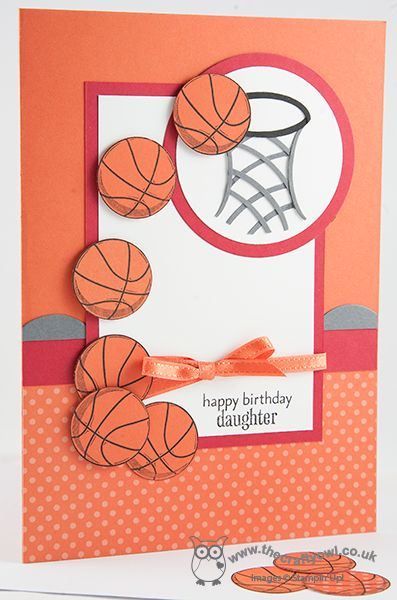 Birthday Netballs! Great Sport, Circles Thinlits, Large Oval Punch, Scallop Edgelits Joanne James, Stampin' Up Demonstrator, www.blog.thecraftyowl.co.uk