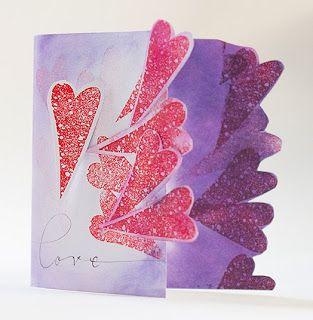 Valentines day card with one stamp Ystävänpäiväkortti yhdellä leimasimella