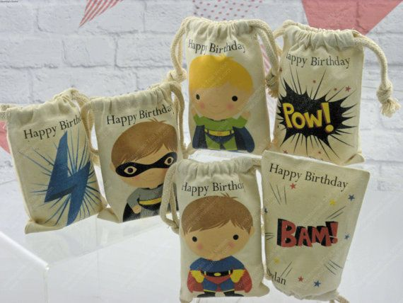 "Muslin bags Favor Birthday Sacks Boys Super Hero For Treat or gift, Personalized 5"" X 7"" Qty 6"