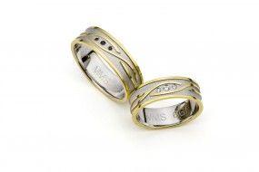 Multicolour golden wedding rings, option for black zirconia